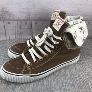 True Religion Hi-Top Hanabel Brwn/Grn Canvas Shoes
